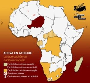 Areva en Afrique, carte