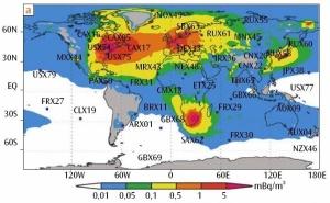 Carte du bruit de fond artificiel du Xénon 133 dans le monde
