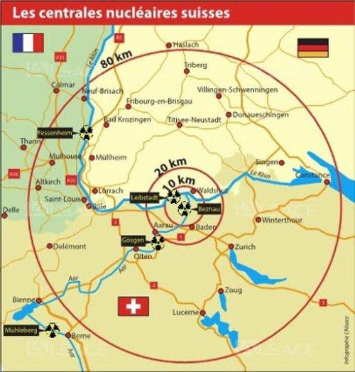 Suisse, centrales nucléaires, carte